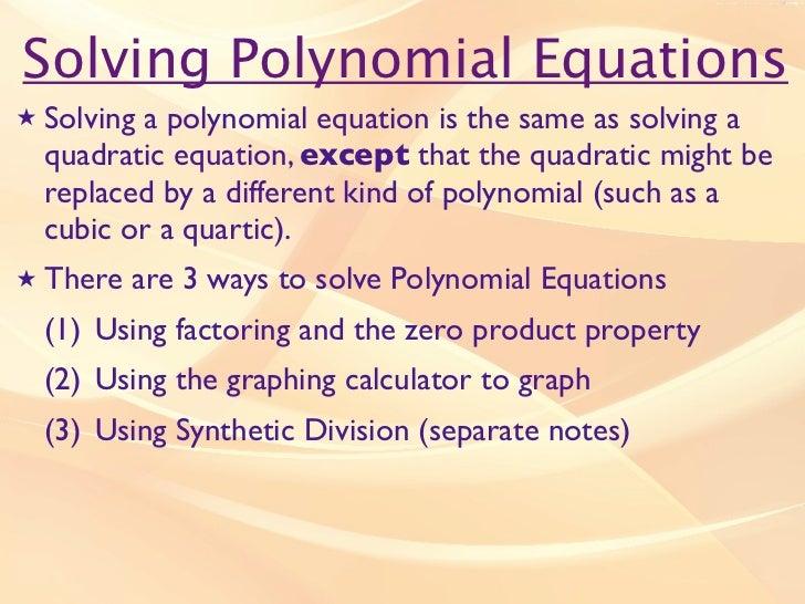 Notes solving polynomial equations – Solving Polynomial Equations Worksheet