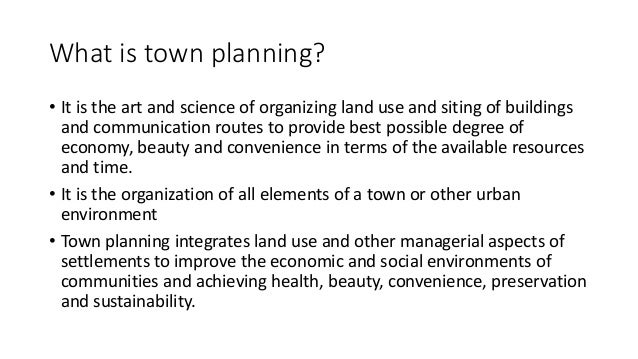 Introduction to town and Urban planning Slide 3