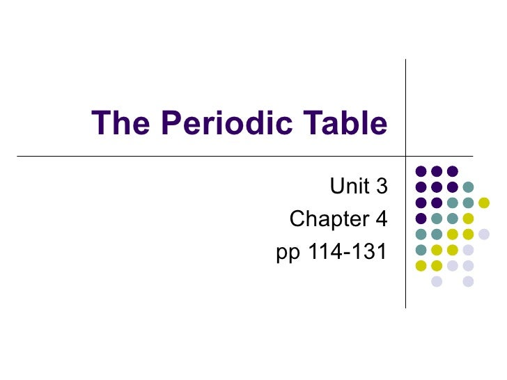 The Periodic Table Unit 3 Chapter 4 pp 114-131