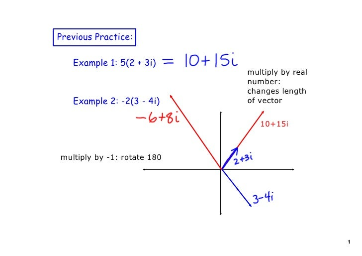 Previous Practice:     Example 1: 5(2 + 3i)                              multiply by real                               nu...