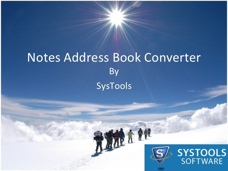 Notes Address Book Converter By SysTools