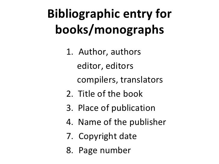 bibliography entry for a book