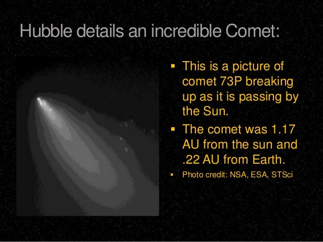 Hubble details an incredible Comet:  This is a picture of  comet 73P breaking up as it is passing by the Sun.  The comet...