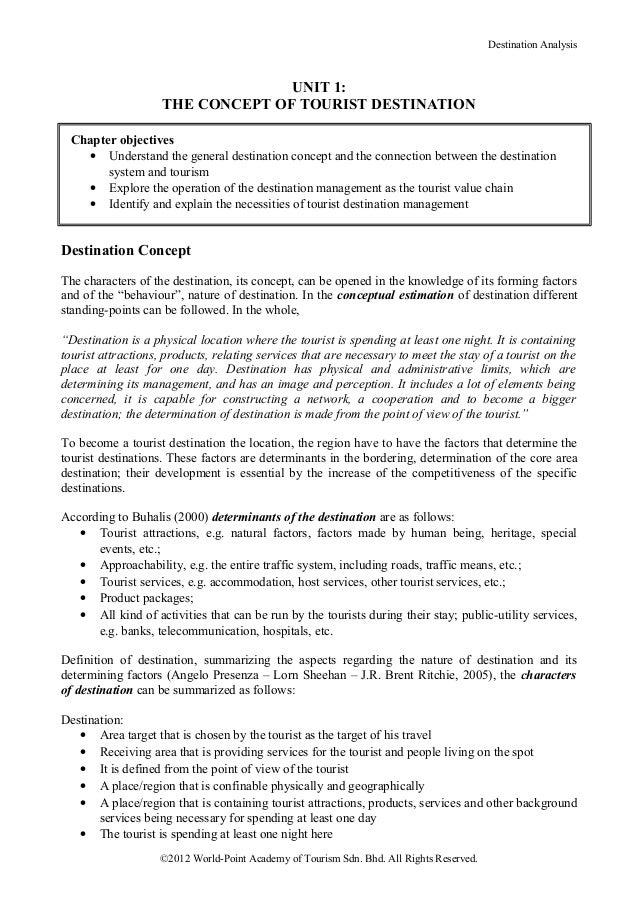 Destination Analysis                                  UNIT 1:                    THE CONCEPT OF TOURIST DESTINATION Chapte...
