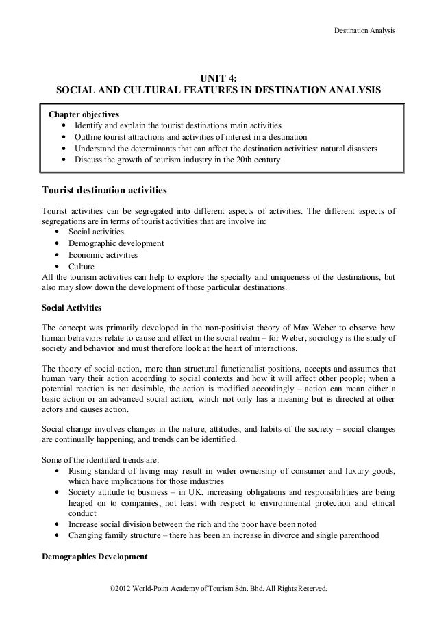 Destination Analysis                           UNIT 4:    SOCIAL AND CULTURAL FEATURES IN DESTINATION ANALYSIS Chapter obj...