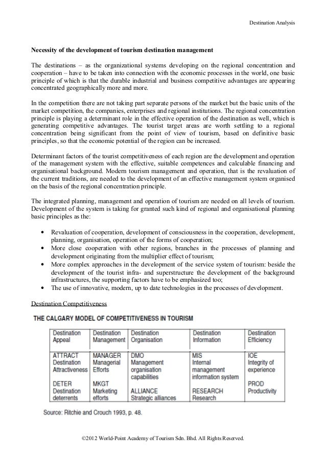 Destination AnalysisNecessity of the development of tourism destination managementThe destinations – as the organizational...