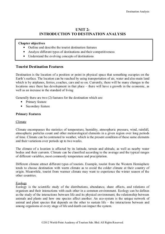 Destination Analysis                                 UNIT 2:                  INTRODUCTION TO DESTINATION ANALYSIS Chapter...