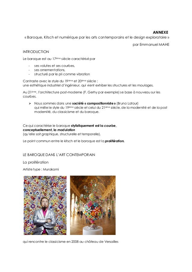 ANNEXE « Baroque, Kitsch et numérique par les arts contemporains et le design exploratoire » par Emmanuel MAHE INTRODUCTIO...