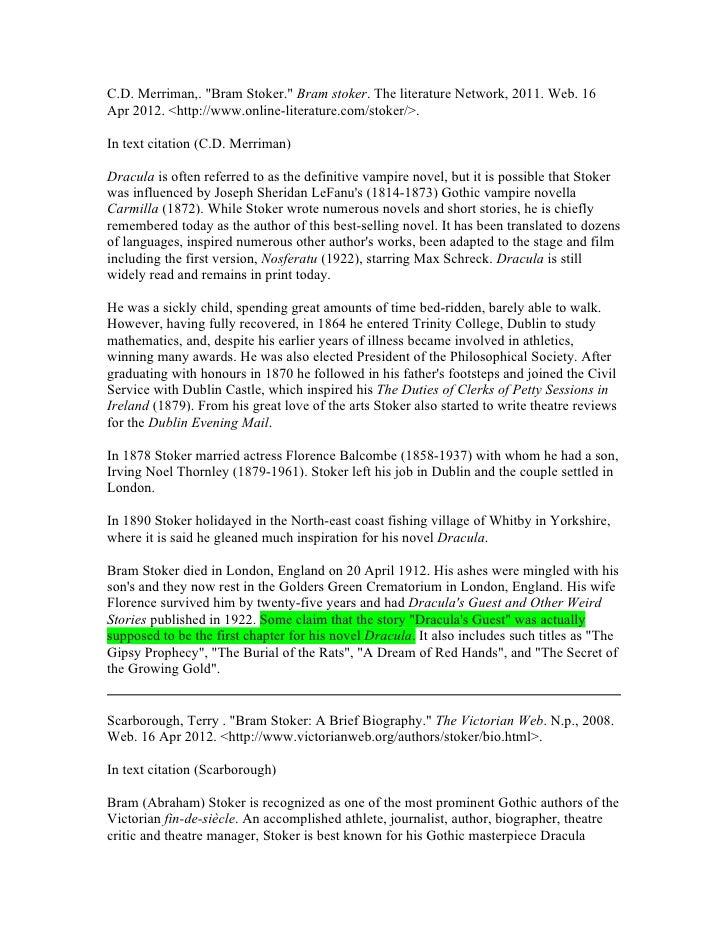 bram stoker dracula research paper