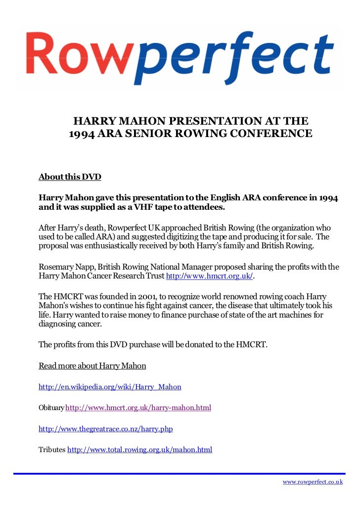 HARRY MAHON PRESENTATION AT THE         1994 ARA SENIOR ROWING CONFERENCEAbout this DVDHarry Mahon gave this presentation ...