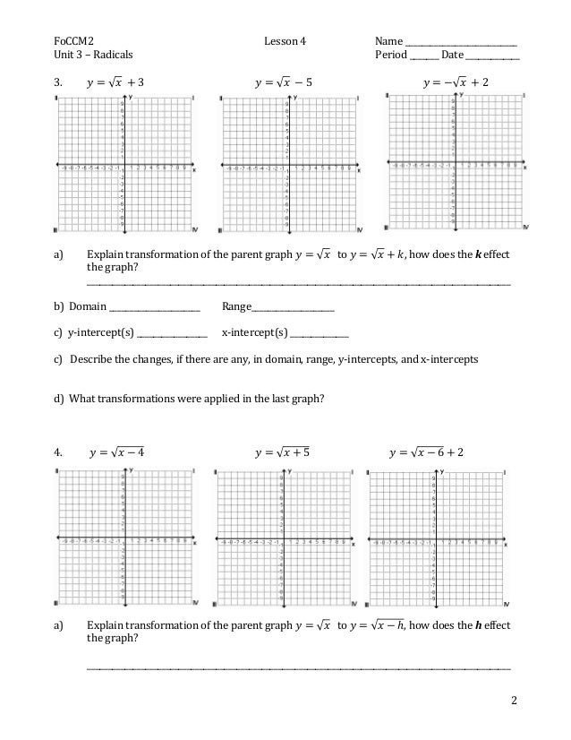 Class notes for discovering transformation of the parent graph for th – Transformations of Graphs Worksheet