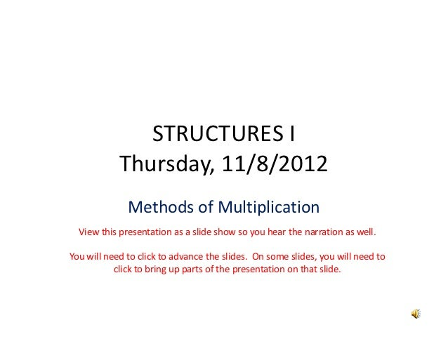 STRUCTURESI            Thursday,11/8/2012              MethodsofMultiplication  Viewthispresentationasaslideshow...