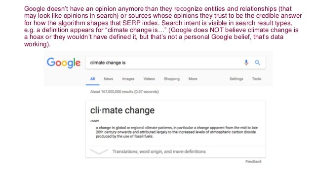 Google doesn't have an opinion anymore than they recognize entities and relationships (that may look like opinions in sear...