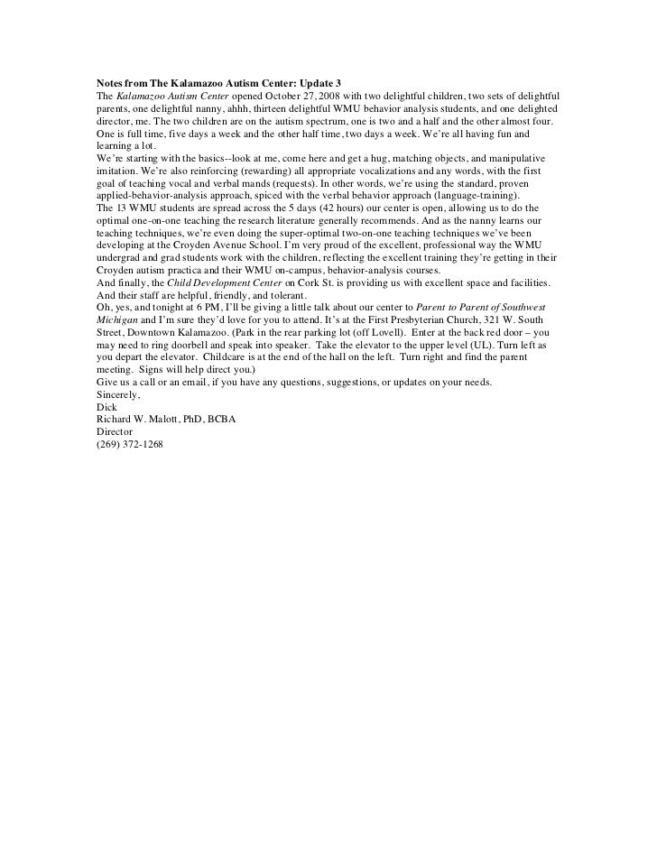 Notes from The Kalamazoo Autism Center: Update 3The Kalamazoo Autism Center opened October 27, 2008 with two delightful ch...