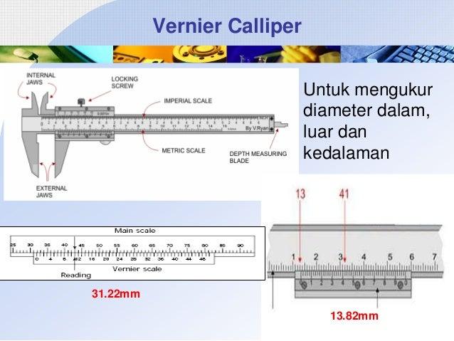 Vernier Calliper Untuk mengukur diameter dalam, luar dan kedalaman  31.22mm 13.82mm