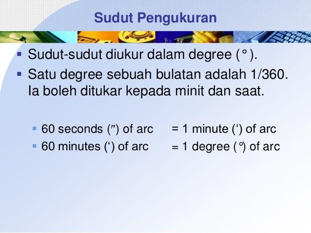 Sudut Pengukuran  Sudut-sudut diukur dalam degree (° ).  Satu degree sebuah bulatan adalah 1/360. Ia boleh ditukar kepad...