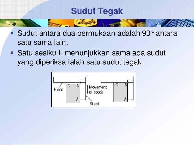Sudut Tegak  Sudut antara dua permukaan adalah 90° antara satu sama lain.  Satu sesiku L menunjukkan sama ada sudut yang...