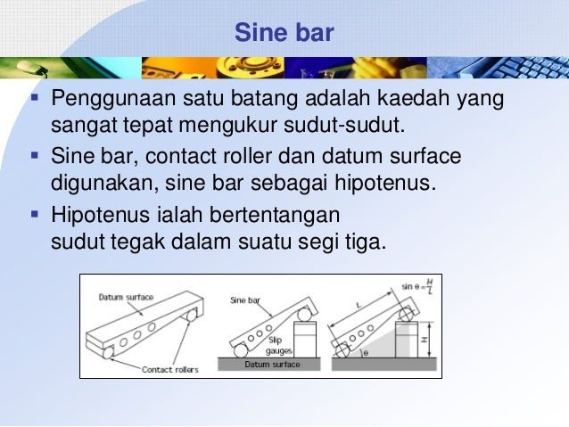 Sine bar  Penggunaan satu batang adalah kaedah yang sangat tepat mengukur sudut-sudut.  Sine bar, contact roller dan dat...