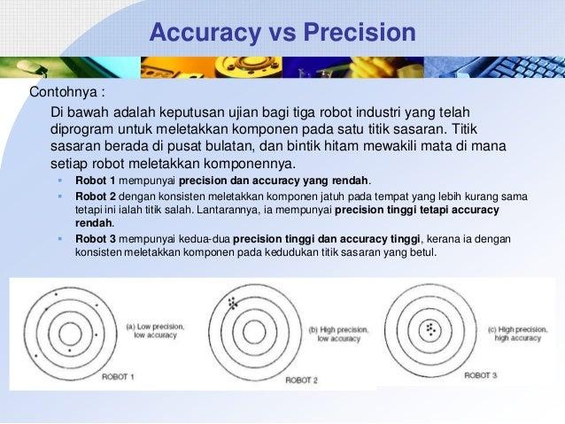 Accuracy vs Precision Contohnya : Di bawah adalah keputusan ujian bagi tiga robot industri yang telah diprogram untuk mele...