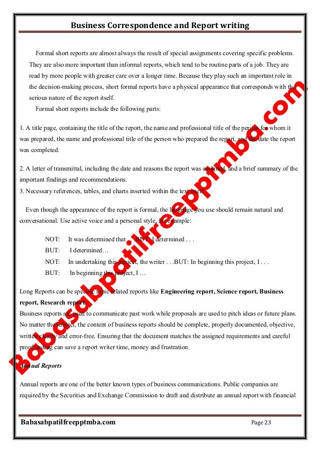 Write a report on business communication