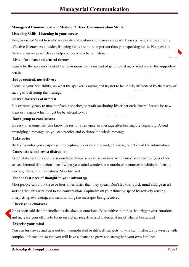 Managerial Communication Babasabpatilfreepptmba.com Page 1 Managerial Communication: Module: 2 Basic Communication Skills:...