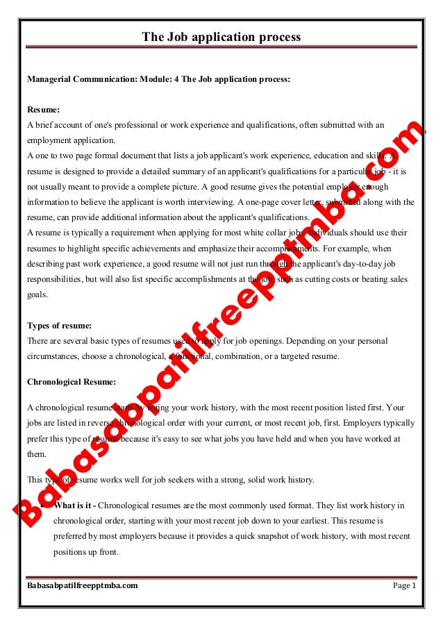 The Job application process Babasabpatilfreepptmba.com Page 1 Managerial Communication: Module: 4 The Job application proc...