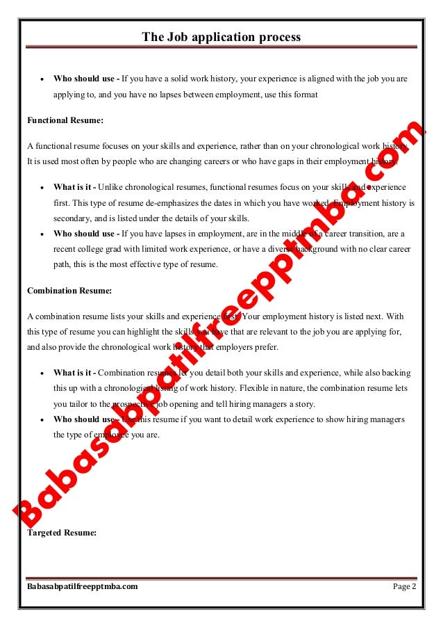Notes Managerial Communication Mod 4 The Job Application Process Mba