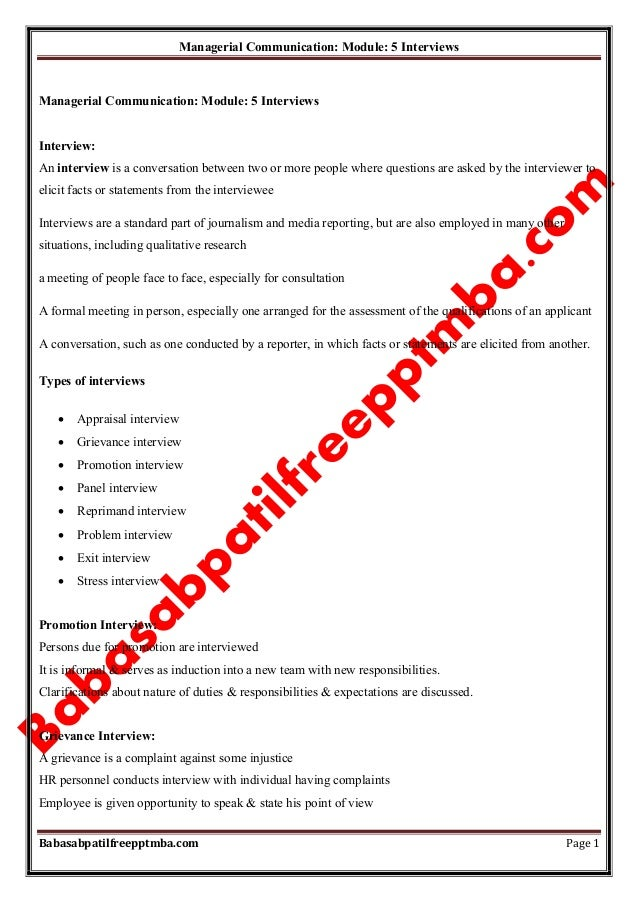 Managerial Communication: Module: 5 Interviews Babasabpatilfreepptmba.com Page 1 Managerial Communication: Module: 5 Inter...