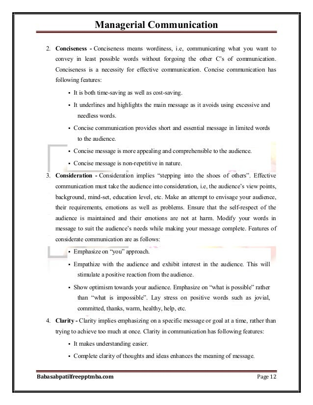 Managerial Communication Babasabpatilfreepptmba.com Page 12 2. Conciseness - Conciseness means wordiness, i.e, communicati...