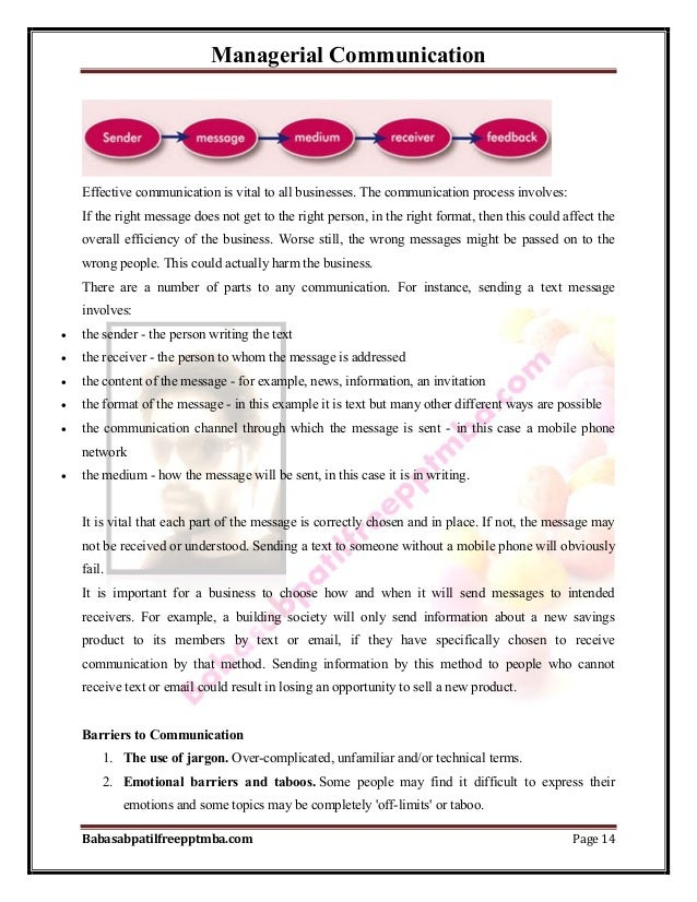 Managerial Communication Babasabpatilfreepptmba.com Page 14 Effective communication is vital to all businesses. The commun...