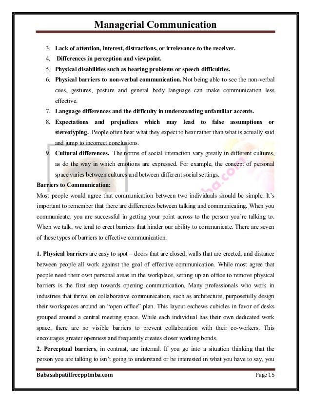 Managerial Communication Babasabpatilfreepptmba.com Page 15 3. Lack of attention, interest, distractions, or irrelevance t...