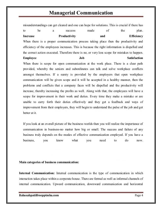 Managerial Communication Babasabpatilfreepptmba.com Page 4 misunderstandings can get cleared and one can hope for solution...