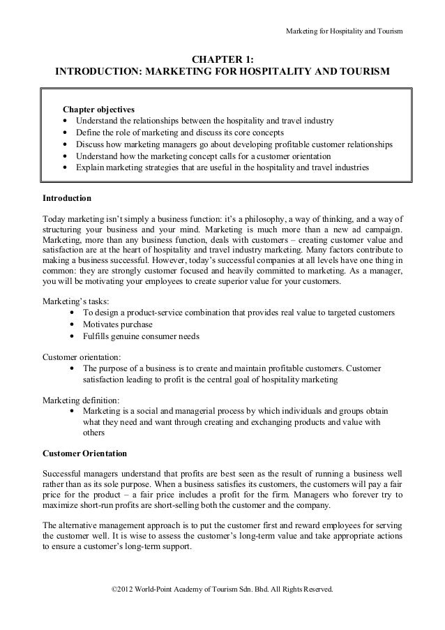 Marketing for Hospitality and Tourism                       CHAPTER 1:   INTRODUCTION: MARKETING FOR HOSPITALITY AND TOURI...