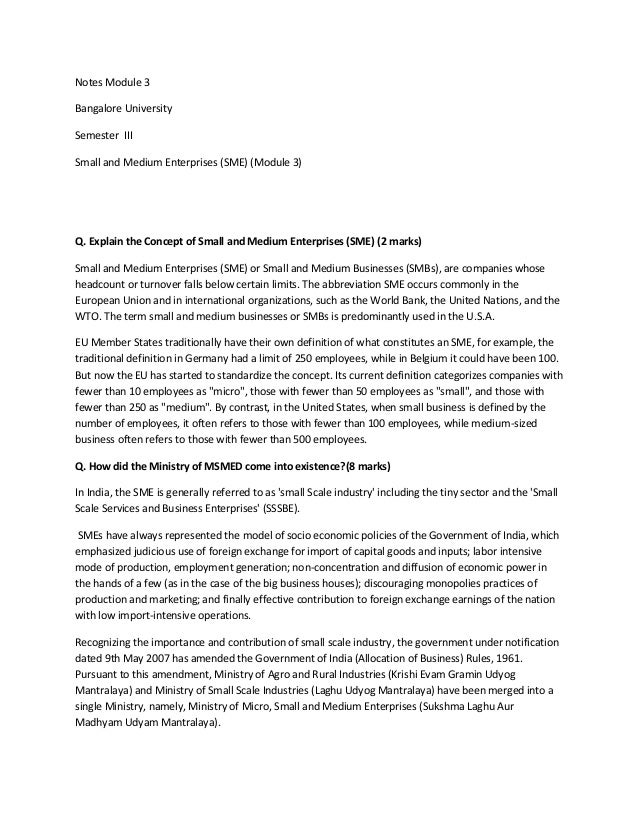 Notes Module 3Bangalore UniversitySemester IIISmall and Medium Enterprises (SME) (Module 3)Q. Explain the Concept of Small...