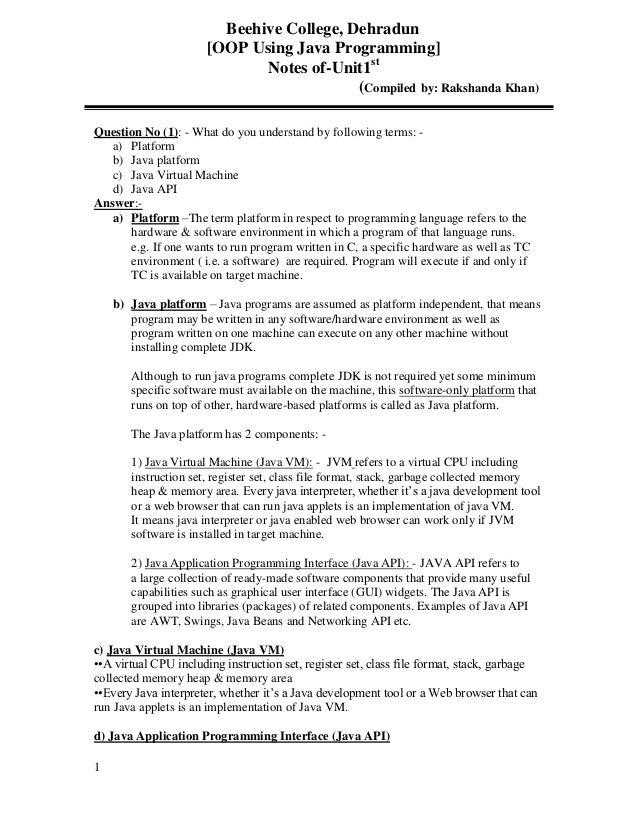 Beehive College, Dehradun                      [OOP Using Java Programming]                             Notes of-Unit1st  ...