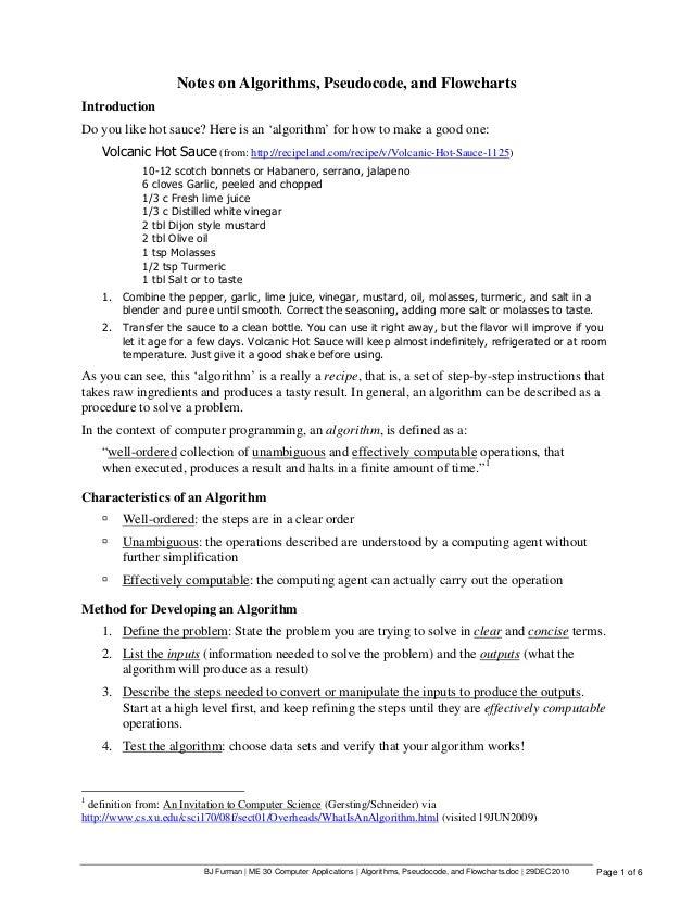 BJ Furman | ME 30 Computer Applications | Algorithms, Pseudocode, and Flowcharts.doc | 29DEC2010 Page 1 of 6 Notes on Algo...