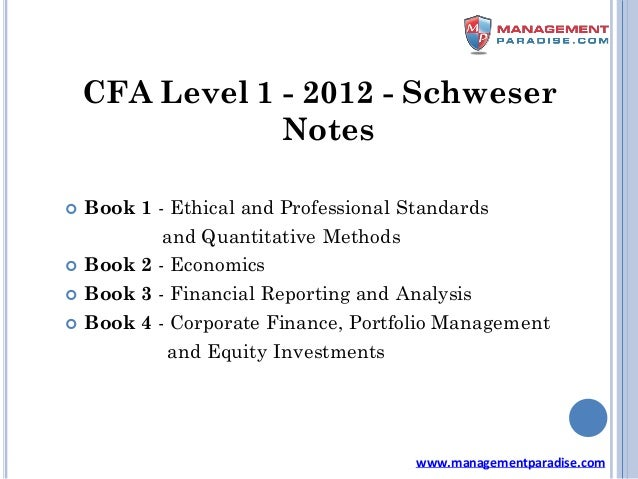 Schweser Notes Cfa Level 1 Pdf