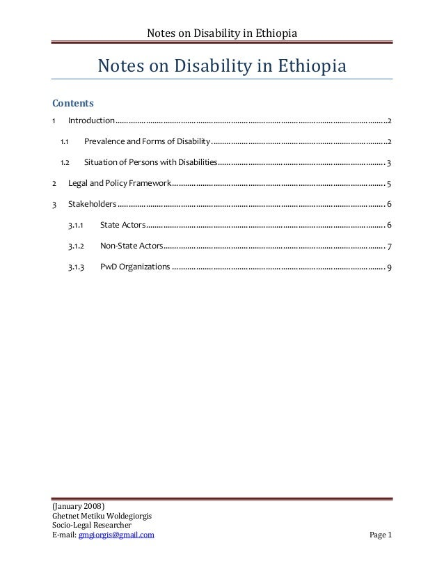 Notes on Disability in Ethiopia                  Notes on Disability in EthiopiaContents1     Introduction ..................