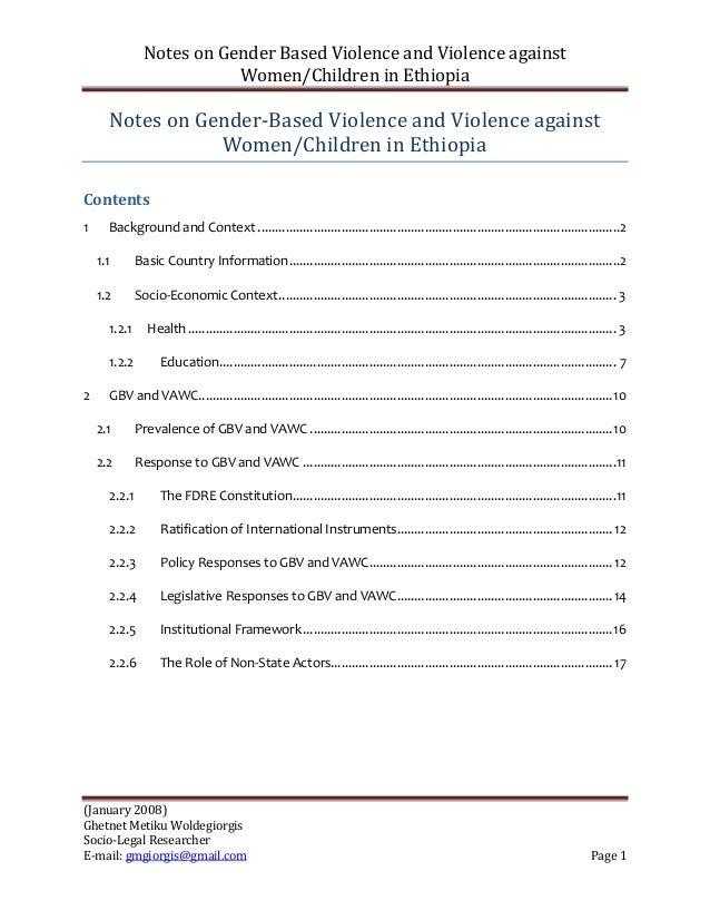 Notes on Gender Based Violence and Violence against                           Women/Children in Ethiopia      Notes on Gen...