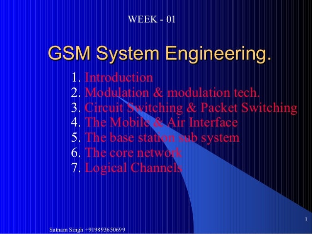 Satnam Singh +9198936506991GSM System Engineering.GSM System Engineering.1. Introduction2. Modulation & modulation tech.3....