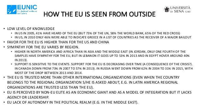 HOW THE EU IS SEEN FROM OUTSIDE • LOW LEVEL OF KNOWLEDGE • IN US IN 2005, 41% HAVE HEARD OF THE EU (BUT 73% OF THE UN, 58%...