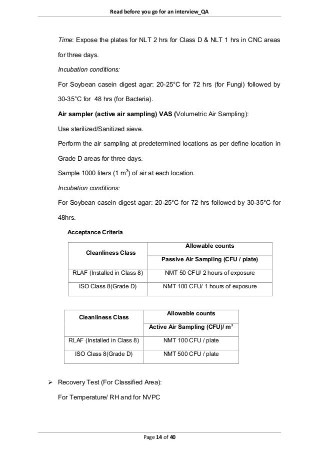 Read before you go for an interview_QA Page 14 of 40 Time: Expose the plates for NLT 2 hrs for Class D & NLT 1 hrs in CNC ...