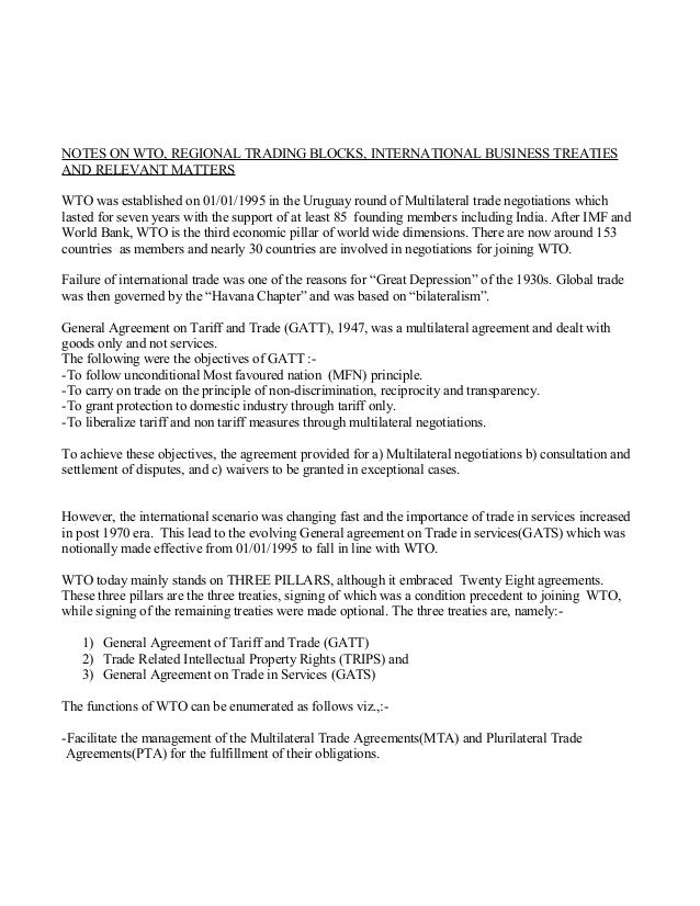 NOTES ON WTO, REGIONAL TRADING BLOCKS, INTERNATIONAL BUSINESS TREATIES AND RELEVANT MATTERS WTO was established on 01/01/1...