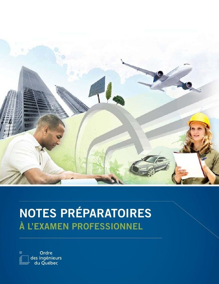 NOTES PRÉPARATOIRESÀ L'EXAMEN PROFESSIONNEL