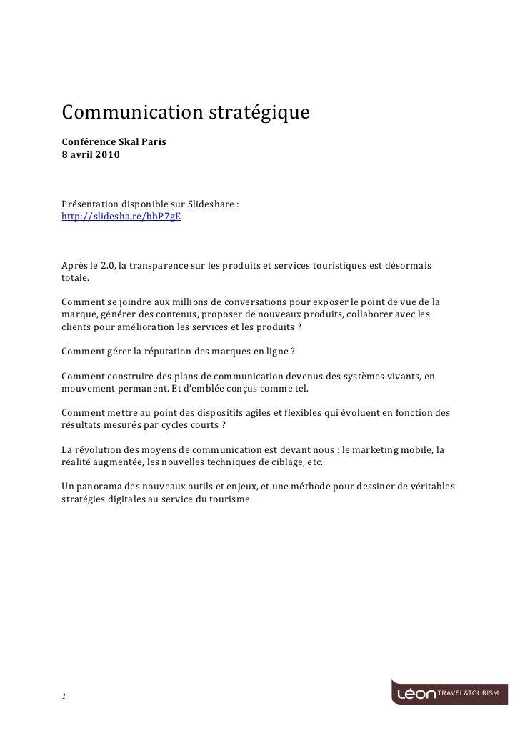 Communication  stratégique      Conférence  Skal  Paris   8  avril  2010      ...
