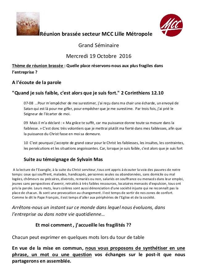 RéunionbrasséesecteurMCCLilleMétropole GrandSéminaire Mercredi19Octobre2016 Thèmederéunionbrassée:Quelle...