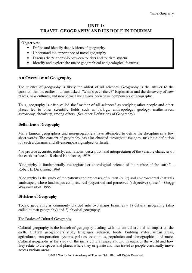 Travel Geography                             UNIT 1:              TRAVEL GEOGRAPHY AND ITS ROLE IN TOURISM Objectives:    ...
