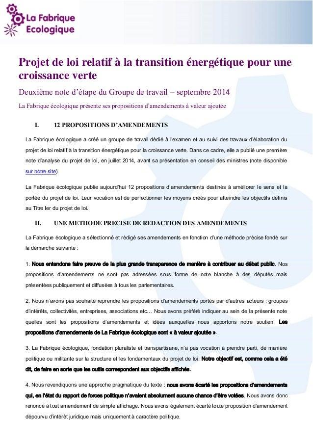 1  Projet de loi relatif à la transition énergétique pour une croissance verte  Deuxième note d'étape du Groupe de travail...