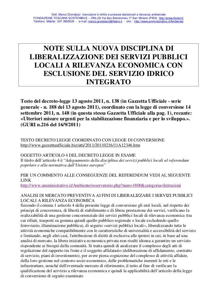 Dott. Marco Grondacci ricercatore in diritto e processi decisionali a rilevanza ambientale       FONDAZIONE TOSCANA SOSTEN...