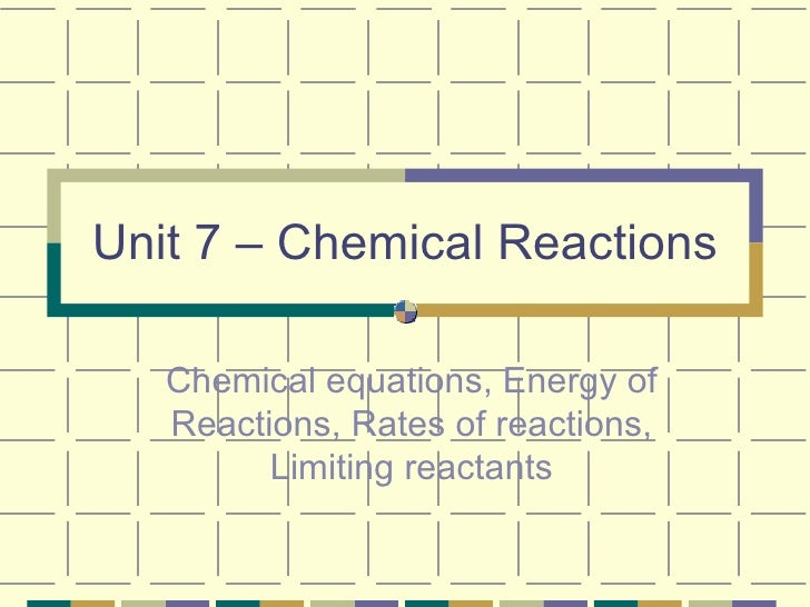 Unit 7 – Chemical Reactions Chemical equations, Energy of Reactions, Rates of reactions, Limiting reactants